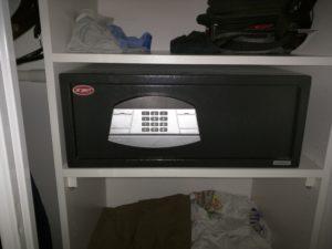A hotel room safe